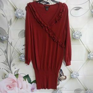 Ashley Stewart Sweater Dress Ruffle Pencil  22/24